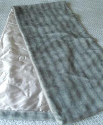 Vintage 1960's Glamour Dove Grey Faux Fur Evening Stole Wrap Satin Lining