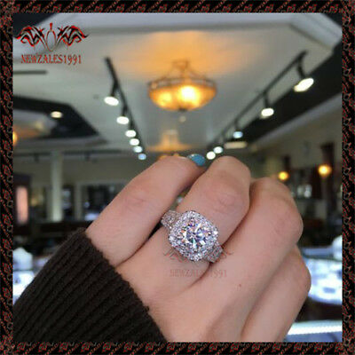 2.00CT Round-Cut Delicated Diamond Halo Engagement Ring 10k White Gold Over