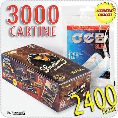 3000 Cartine SMOKING BROWN CORTE MARRONI 50 LIBRETTI +  2400 Filtri OCB SLIM 6mm