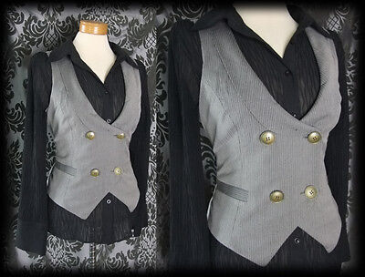 Gothic Grey Pinstripe Fitted INFERNAL Corset Waistcoat 12 14 Steampunk Victorian