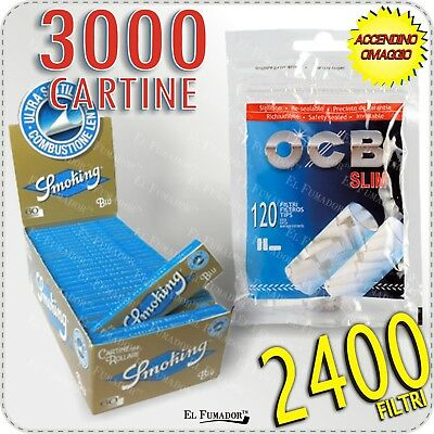 3000 Cartine SMOKING BLU CORTE - 1 BOX 50 LIBRETTI +  2400 Filtri OCB SLIM 6 mm