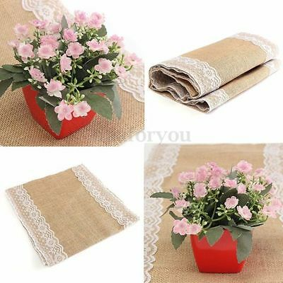 180cm Hessian Table Runner Burlap Lace Vintage Rustic Home Wedding Table Decor
