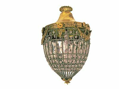 French Empire Bronze Crystal Brass Pendant Chandelier French Cage Basket Chandel