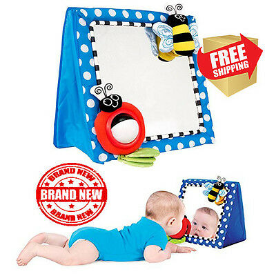 Sassy Floor Mirror Blue Baby Infant Toddlers Play Developmental Toy Free Ship