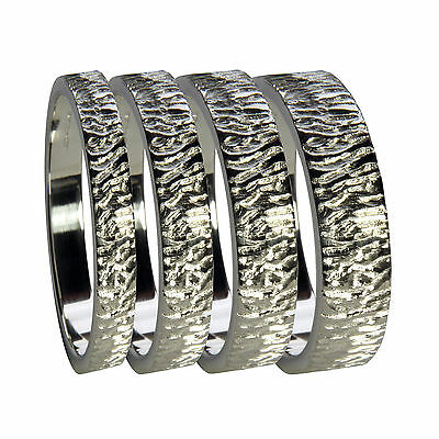 950 Platinum Bark Engraved Wedding Bands Flat Profile Heavy Bands 2mm - 8mm Wide