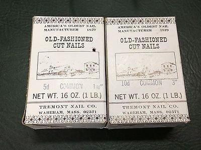 "Tremont Nail Co. Old-Fashioned Cut Nails 10d Common 3"" & 5d Common 1 3/4"" NOS"