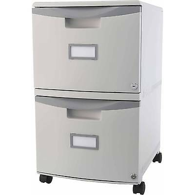 Filling Cabinet 2 Drawer Mobile File Storage With Lock and Casters Rolling Gray