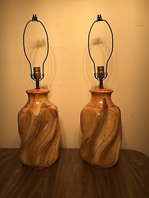 Pair of Pottery Mid Century Modern Lamps 3/way switch Vintage Swirl