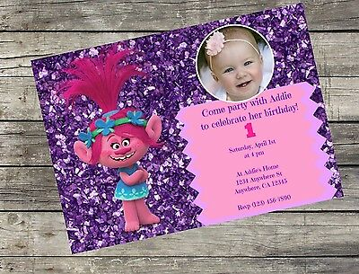 Personalized Princess Poppy Trolls Birthday Invitation Digital File 5x7 DIY