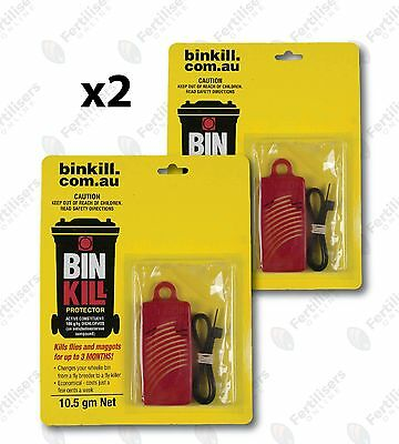 Bin Kill Fly Protector x2 (two) 10.5g Binkill Flies Maggots Bug Pest Garden