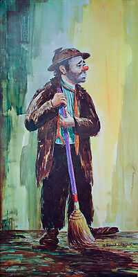 Original VINTAGE Emmett Kelly w/ Broom POSTER Art Print CIRCUS CLOWN Spotlight