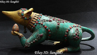"""14"""" Chinese Turquoise&Red Gilt Coral Zodiac Year Mouse Rat Mice Animal Statue"""