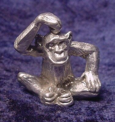 Pewter Monkey Scratching Head - Satin Finish