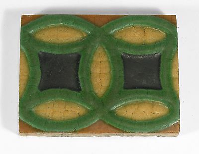 Grueby Pottery 4 color ring tile matte yellow green brown blue Arts & Crafts