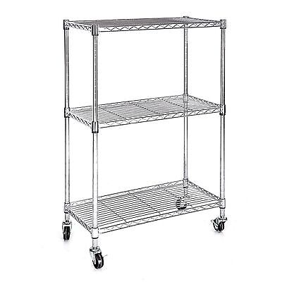 3 Tier Chrome Heavy Duty Wire Shelving Rack Cart Unit w/Casters Shelf Wheels