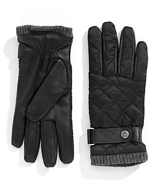 $175 Polo Ralph Lauren Men Black  Quilted Touch Winter Wool Gloves Size Large