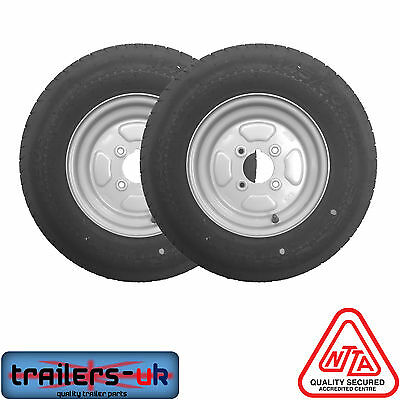 """NEW Pair of Trailer Wheels & Tyres 145 R10 4 ply 4 Stud 4"""" PCD - FREE DEL"""