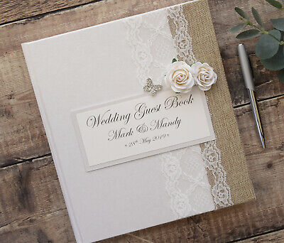 Large Luxury Personalised Wedding Guest Book - Vintage Rose & Butterfly Design