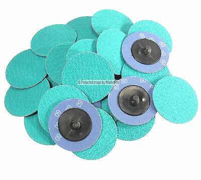 """25Pc 2"""" 60 Grit Green Zirconia Roloc Type Roll On Lock Sanding Disc Made in USA"""