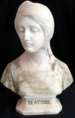 Late 19C Alabaster & Marble Signed Bust Of Beatrice Prof. G. Bessi (1857-1922)