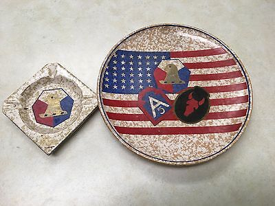 WW2 5th Army, 34th Division Ceramic Plate and Ashtray - Made in Italy