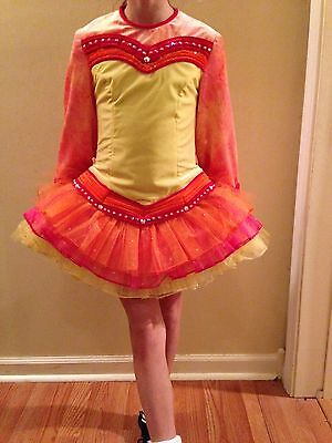 Pink, yellow, orange Irish Dance Solo Dress - girls 10-11 years old