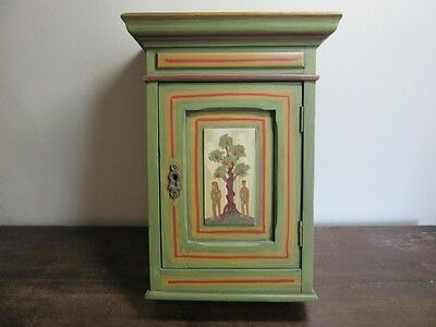 Vtg hand painted wood box shelf cabinet. Adam & Eve primitive
