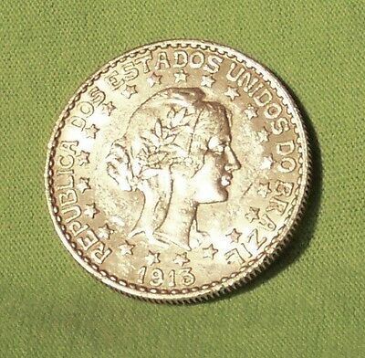 """""""VERY HIGH QUALITY"""" 1913 BRAZIL 2000 REIS SILVER WITH FREE STARS in AU"""