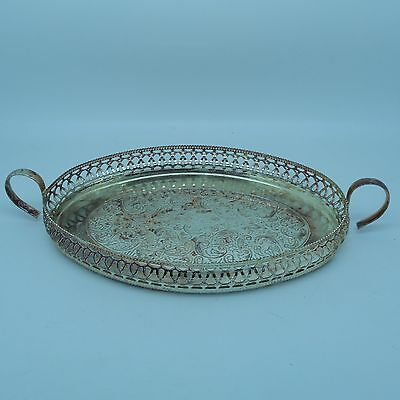 Vintage Ornate Oval Silver Plated Serving Tray With Raised Gallery