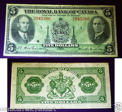 Royal Bank Of  Canada 1935 $5  - Desirable, Canadian Chartered Banknote