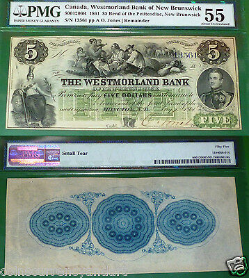 Westmorland Bank of New Brunswick, 1861 $5 PMG 55 , 2nd HIGHEST PMG GRADE