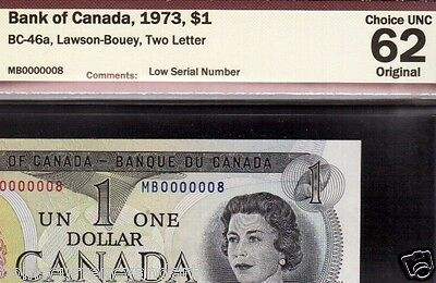 lucky# 8 1973 $1 Bank Of Canada  FANCY Serial 0000008 Canada Banknote