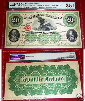 HIGHEST PMG GRADE SOLO GRADED Ireland - Republic, $20,1866-67 PMG 35 FENIAN BOND