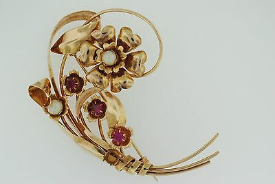 Vintage 14K Rose Gold, Ruby And Pearl Brooch/Pin