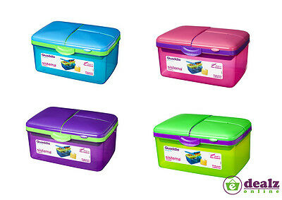 Sistema Quaddie Large Lunch Food Box 2L With Bottle Work School Office BPA Free