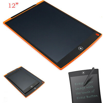 "12"" LCD Home eWriter Tablet Writing Drawing Pad Memo Message Board Tool Orange"