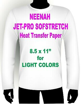 "Sofstretch Inkjet Iron On Heat Transfer Paper Neenah Jet Pro Ss 8.5 X 11"" 50 Pk"