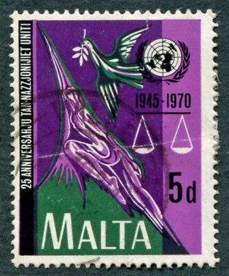 MALTA 1970 5d multicoloured SG442 used NG United Nations Anniversary #W18