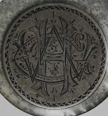 1876 Seated Liberty Quarter  Love token - w/ letters CWH - Intricate Design!