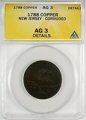 1787 New Jersey Colonial Copper Cent Coin - ANACS Graded AG 3