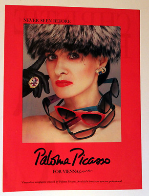 1987 Paloma Picasso Sunglasses Ad - Viennaline - Vintage 1980s Advertising Page