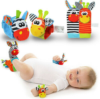 New Born Baby Socks Wrist Bands Rattle SOUNDS Rattling Sensory Toy Infant Child