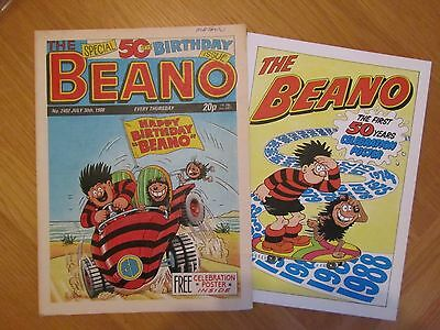 BEANO COMIC 50th BIRTHDAY ISSUE PLUS POSTER  30th July 1988