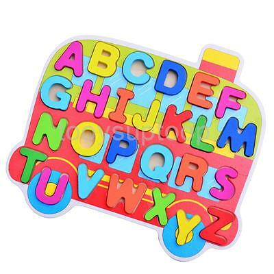 Kids Wooden Puzzle Jigsaw Learning ABC Alphabets Preschool Educational Toys