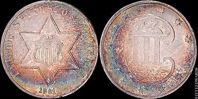 1861 Three Cent Silver Trime ** High Grade ** < Rainbow Toned  >