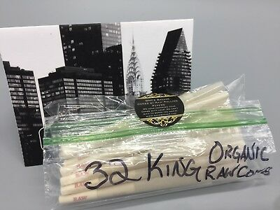 32 Pack of King Size Organic Hemp Cone Rolling Papers by Raw Rolling Papers