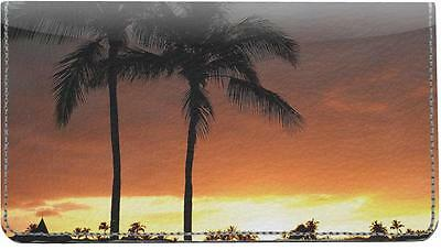 Tropical Sunsets Leather Checkbook Cover