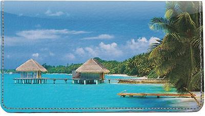 Tropical Bungalows Leather Checkbook Cover