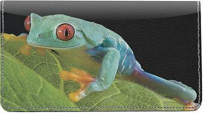 Tree Frogs Leather Checkbook Cover