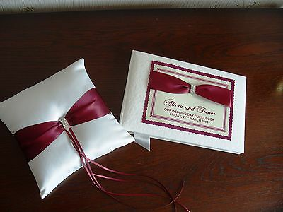 Wedding Guest Book and Ring Cushion & Diamante in Various Colours List 1